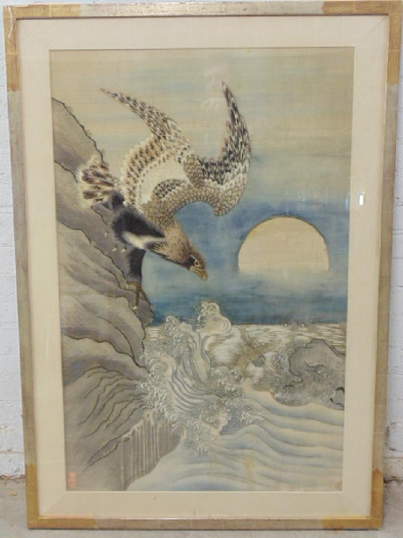 Asian silk needlework, eagle over water