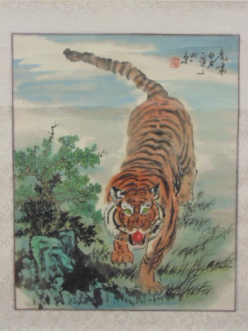 Chinese watercolor on paper, Tiger, signed