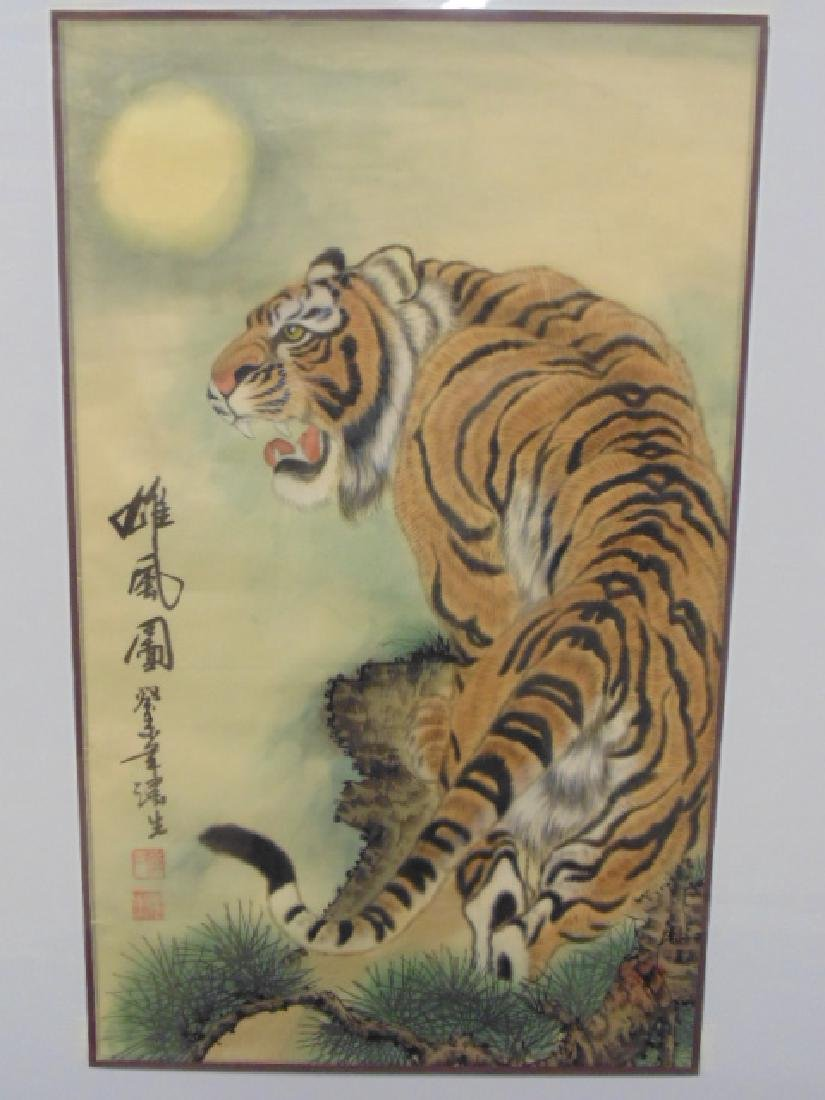 Chinese painting on silk, tiger signed
