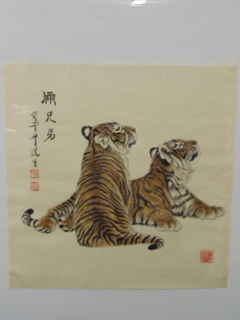 Chinese watercolor on paper, 2 tigers, signed