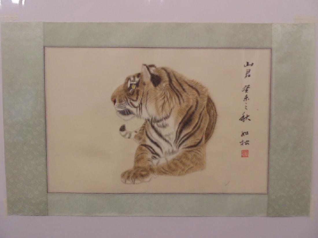 Chinese pencil drawing, Tiger, signed