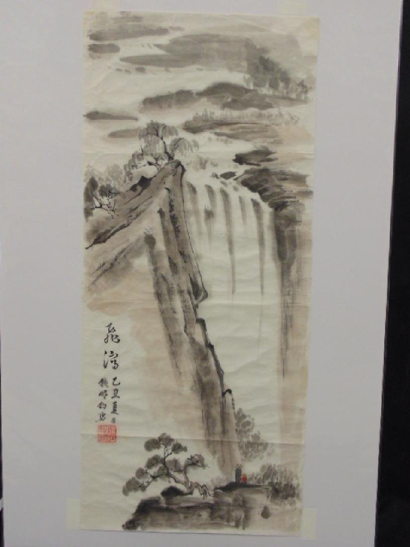 Chinese watercolor, Waterfall, figures, signed