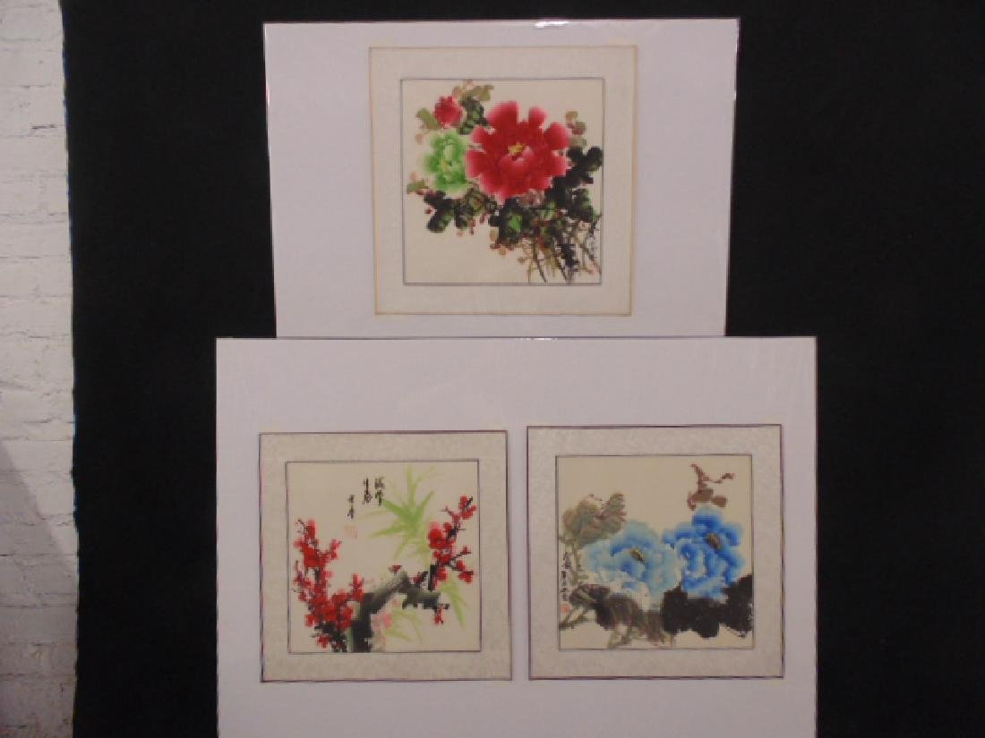 3 Chinese watercolors, floral still lifes, all signed