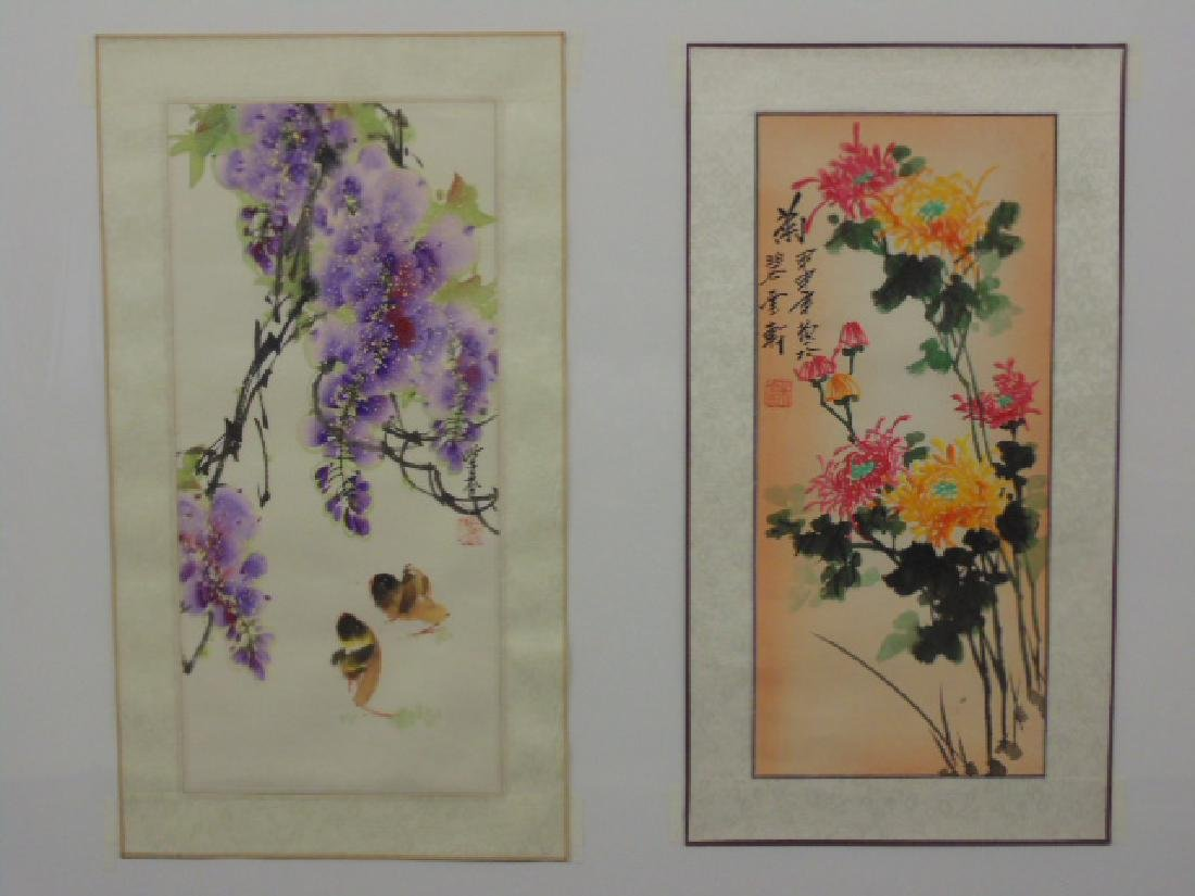 Pair of Chinese watercolors  floral scenes, signed