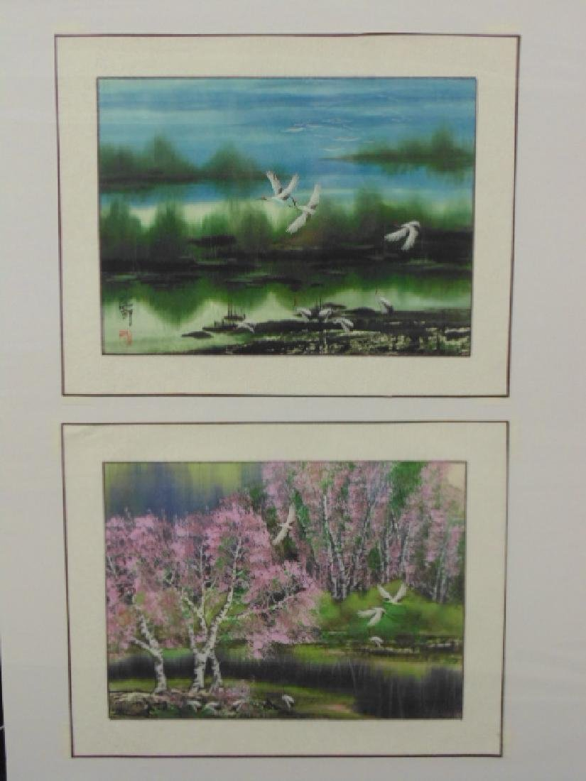 2 Chinese watercolors, cranes & landscape signed