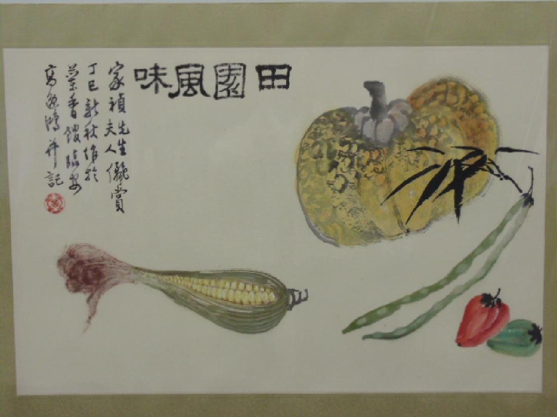 Chinese watercolor, still life with mais signed