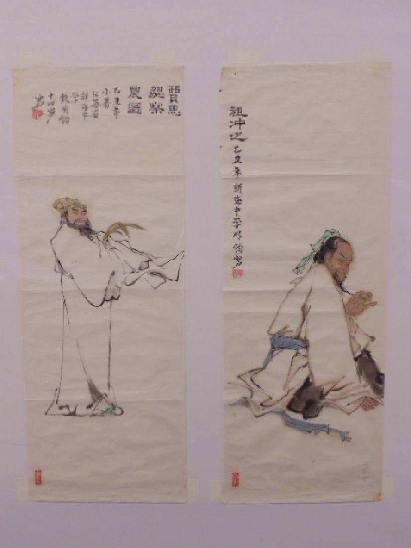 2 Chinese watercolors, portraits signed