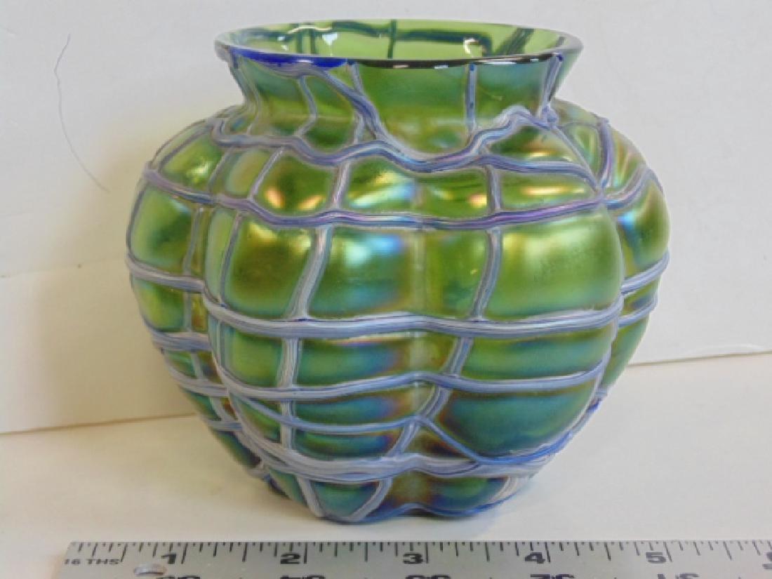 Green glass Loetz type Czech or Austrian bowl