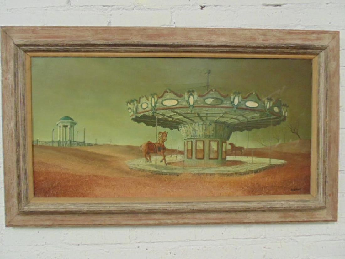 "Painting, ""Carousel"", signed Albert Schroder"