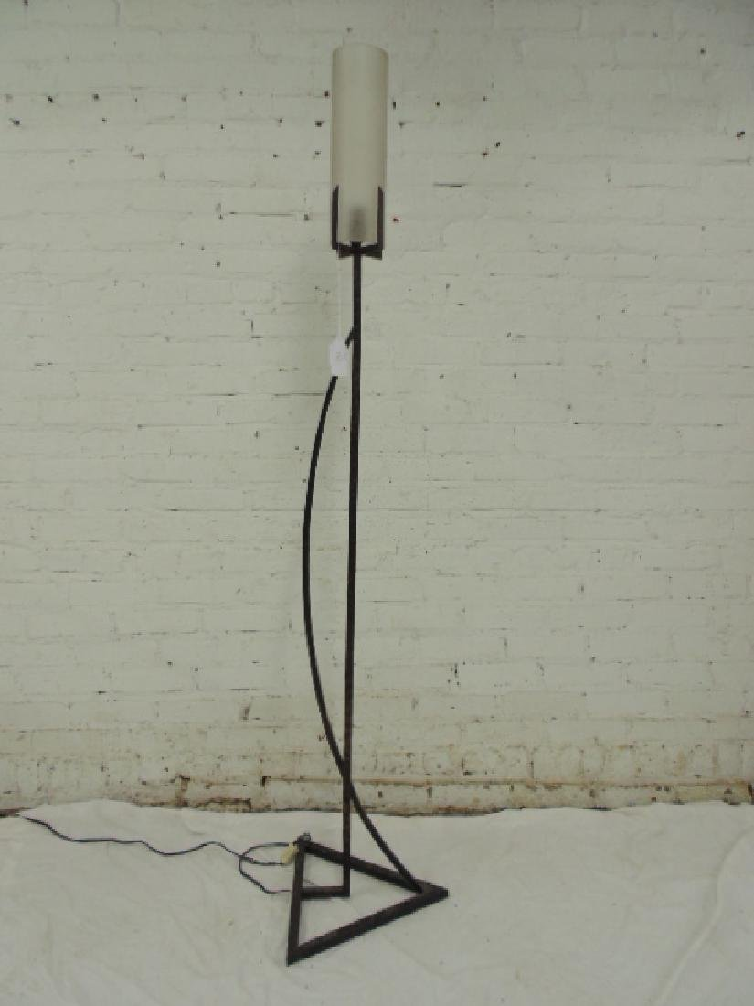 Bronze floor lamp with glass shade by Paul Lobel