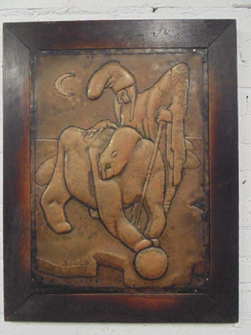 Copper relief, figure with animal, Paul Lobel 1927