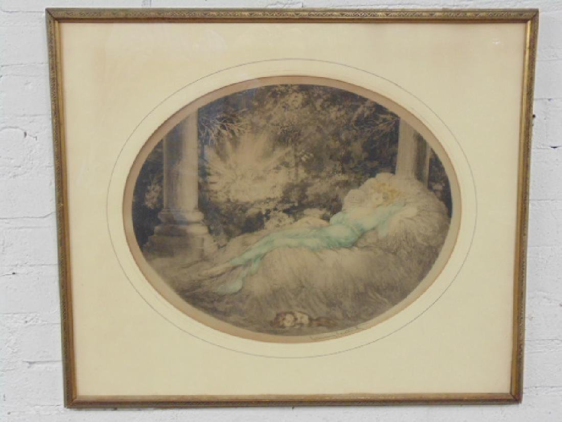 Louis Icart etching, reclining woman & dog, signed