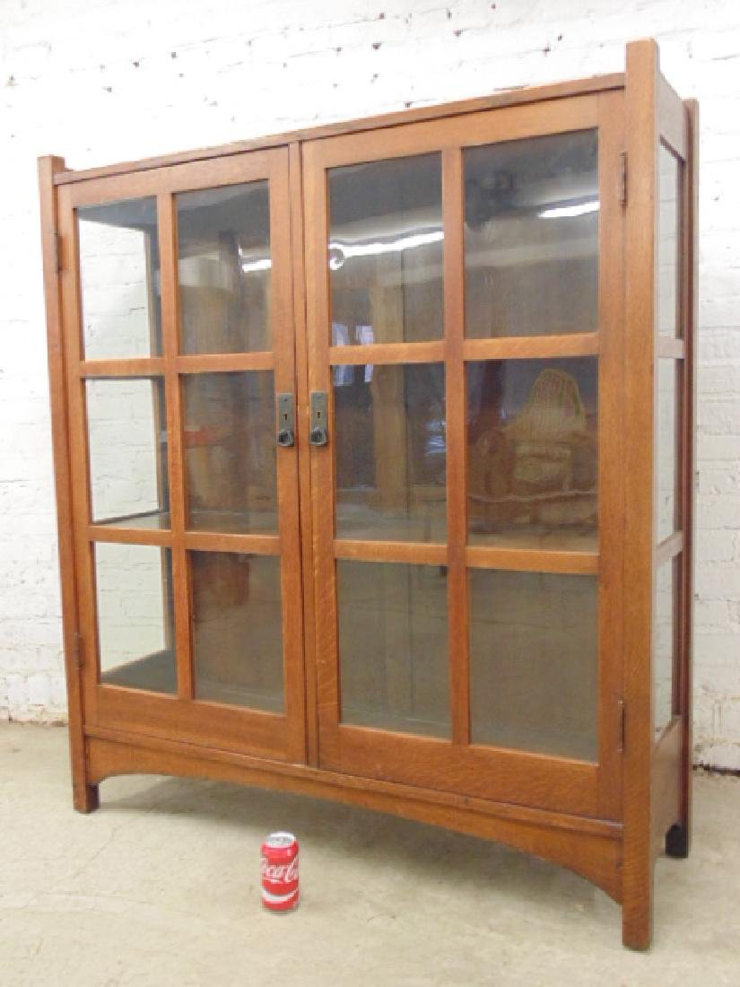 L&JG Stickley double door oak china cabinet