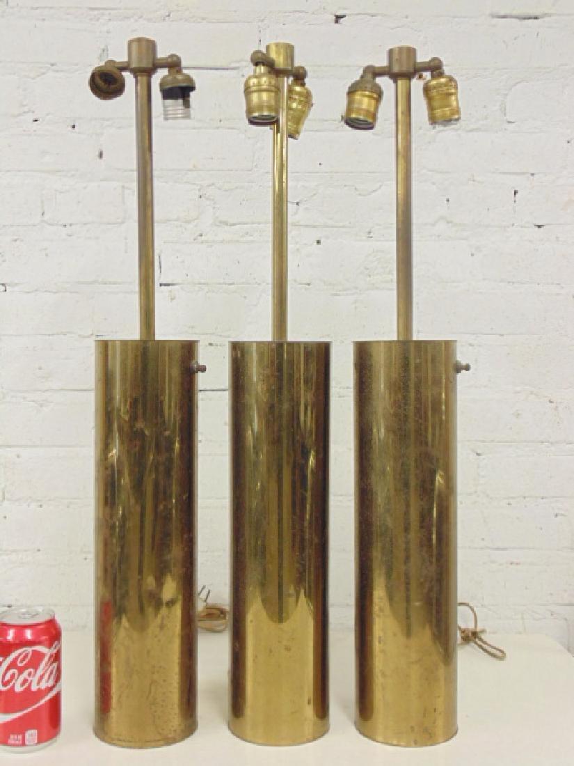 3 brass cylinder Walter von Nessen table lamps