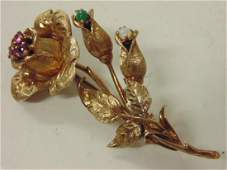 14K gold floral pin brooch with gemstones