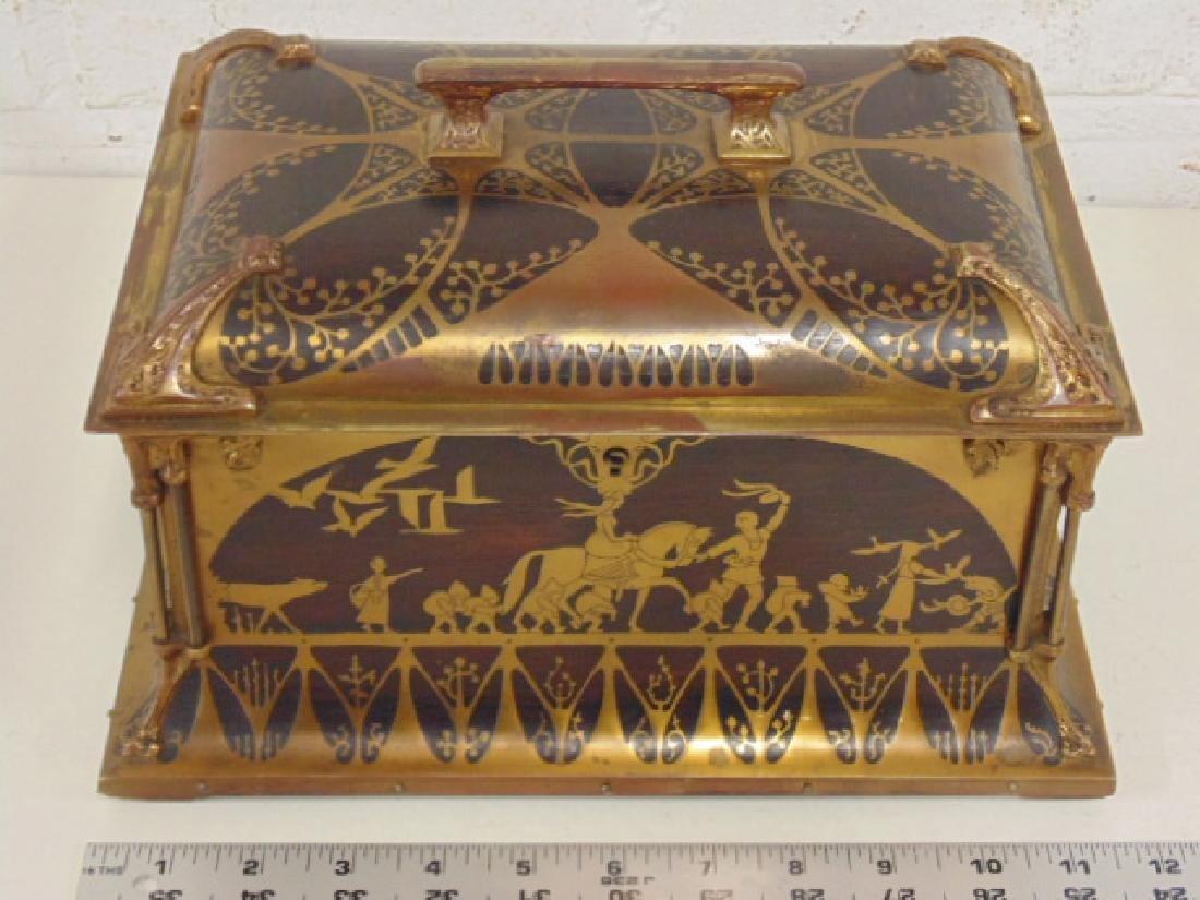 English rosewood & brass inlaid casket box