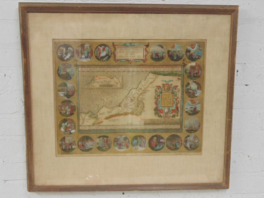 Map, holy land, Palestine, by Abraham Ortelius, 1612