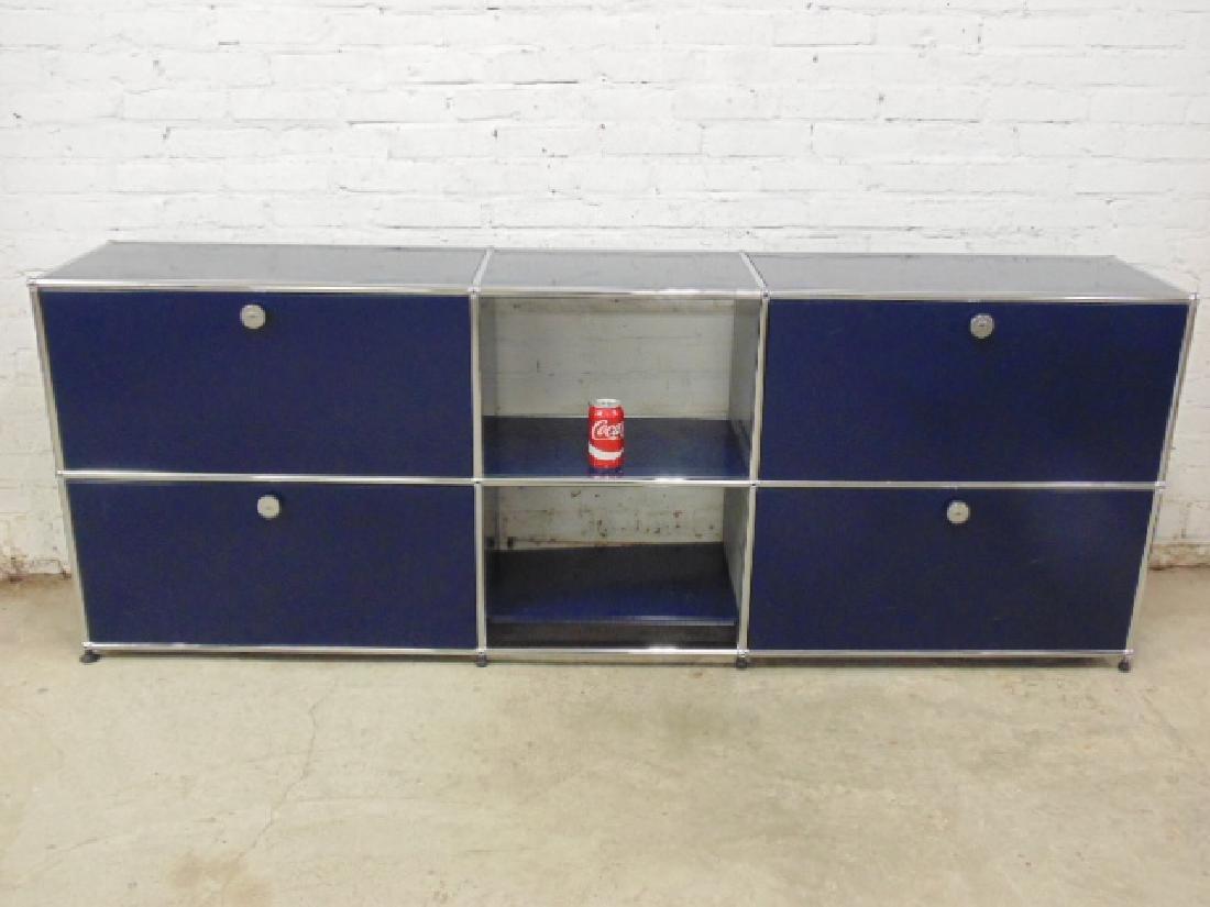 Steel cabinet by USM-Haller, steel & blue paint
