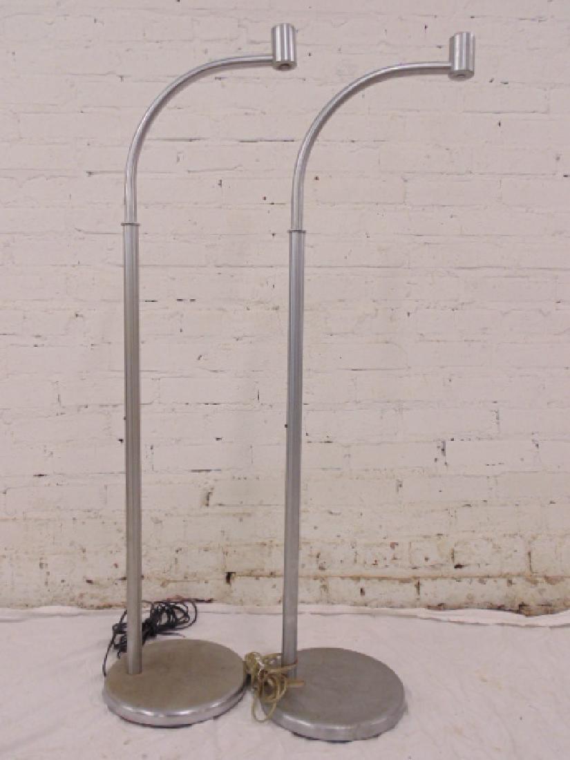 """Pair Walter von Nessen """"J"""" form chrome floor lamps"""