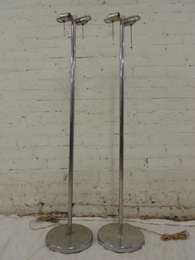 Pair chrome, Walter von Nessen floor lamps