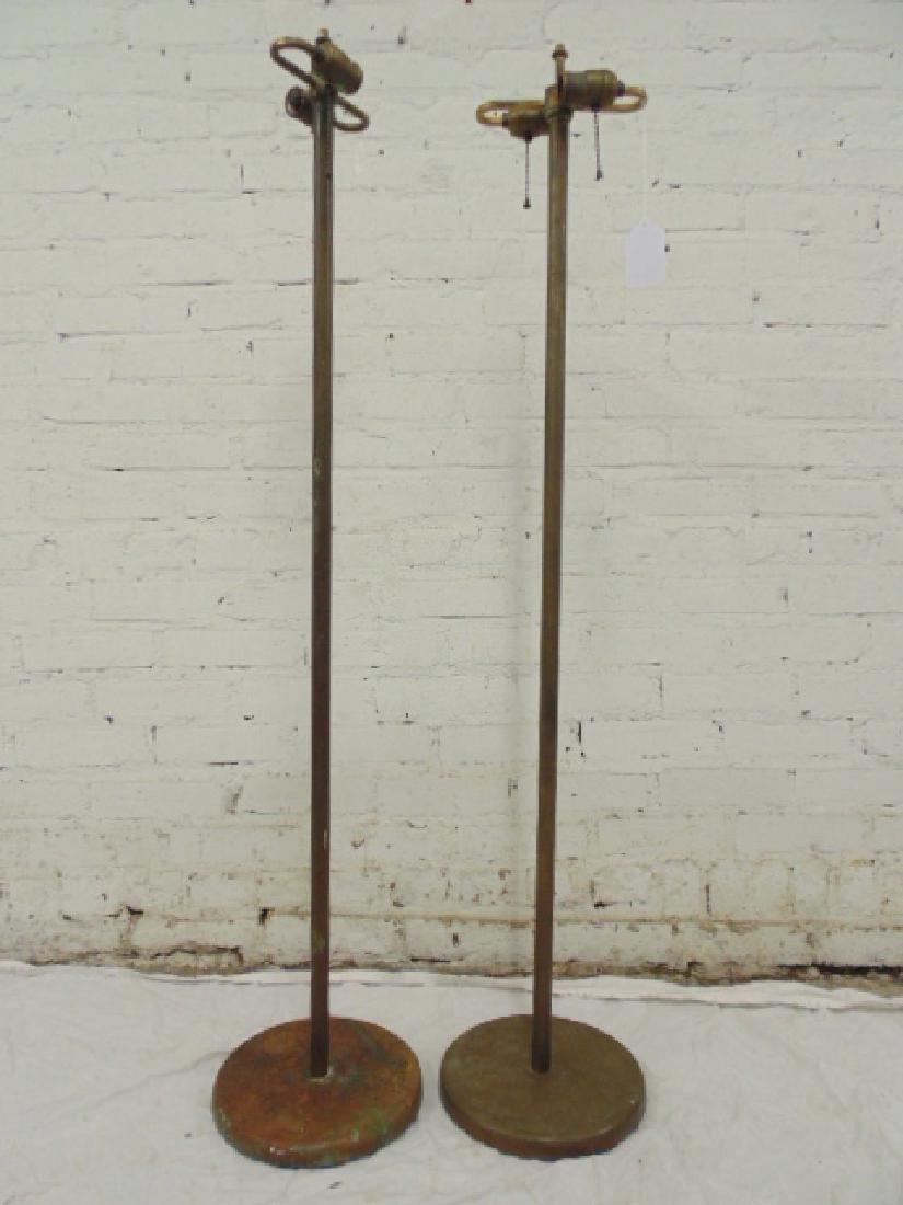 Pair brass, Walter von Nessen floor lamps