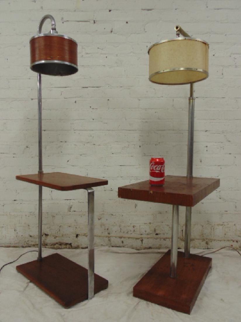 2 Mid Century lamp tables, chrome & walnut