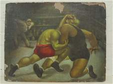 Painting, , boxing match, signed Braumann