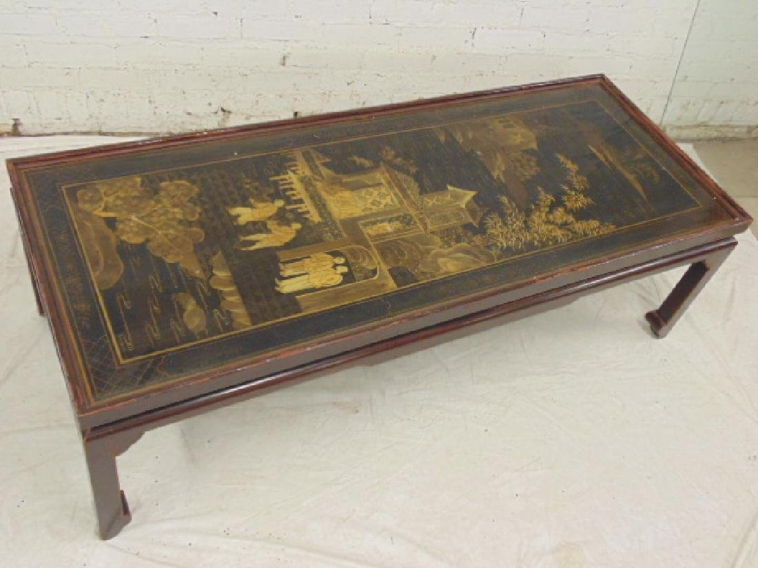Chinese Gilt & Black Lacquered Coffee Table