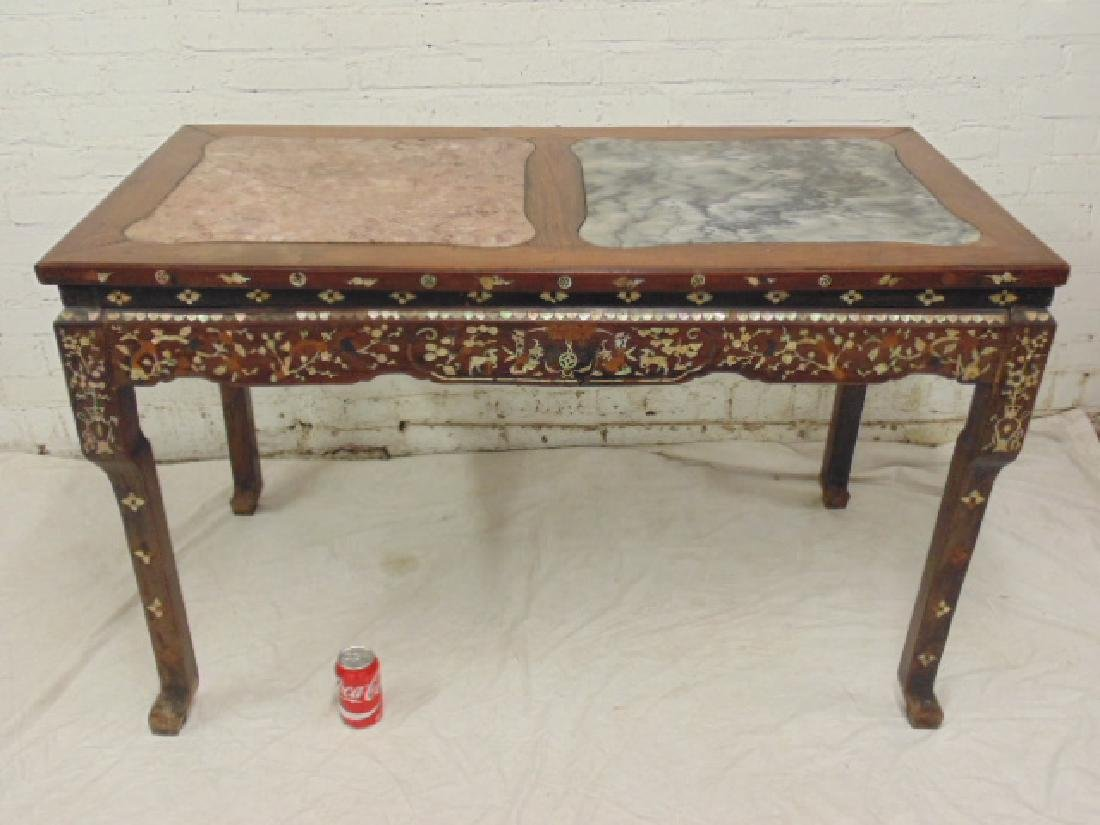 Chinese Wood and Mother of Pearl Inlaid Coffee Table