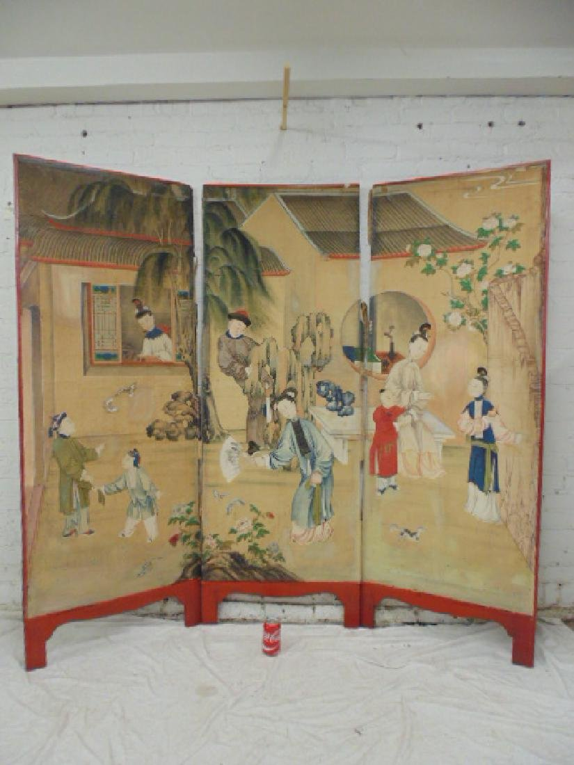 Chinese Hand-Painted 3 Panel Folding Screen