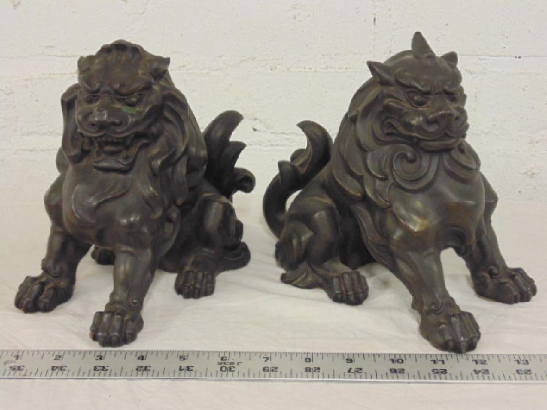 Pair Asian Style Chinese Bronze Foo Dog Statues