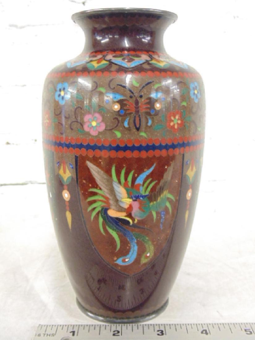 Asian Cloisonne Vase Phoenix Bird & Butterflies