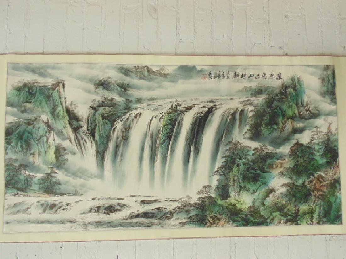 Chinese Ink and Watercolor Scroll Painting Waterfall