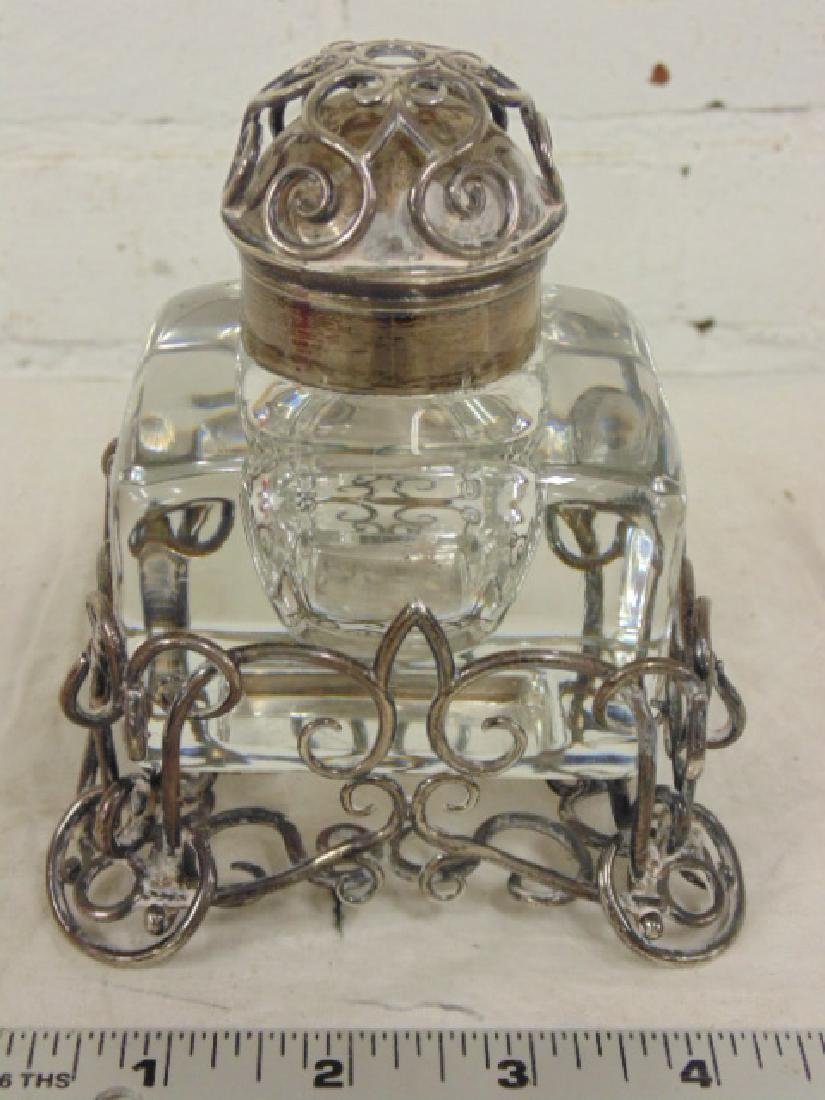 Antique English Sterling & Glass Inkwell W. Thornhill