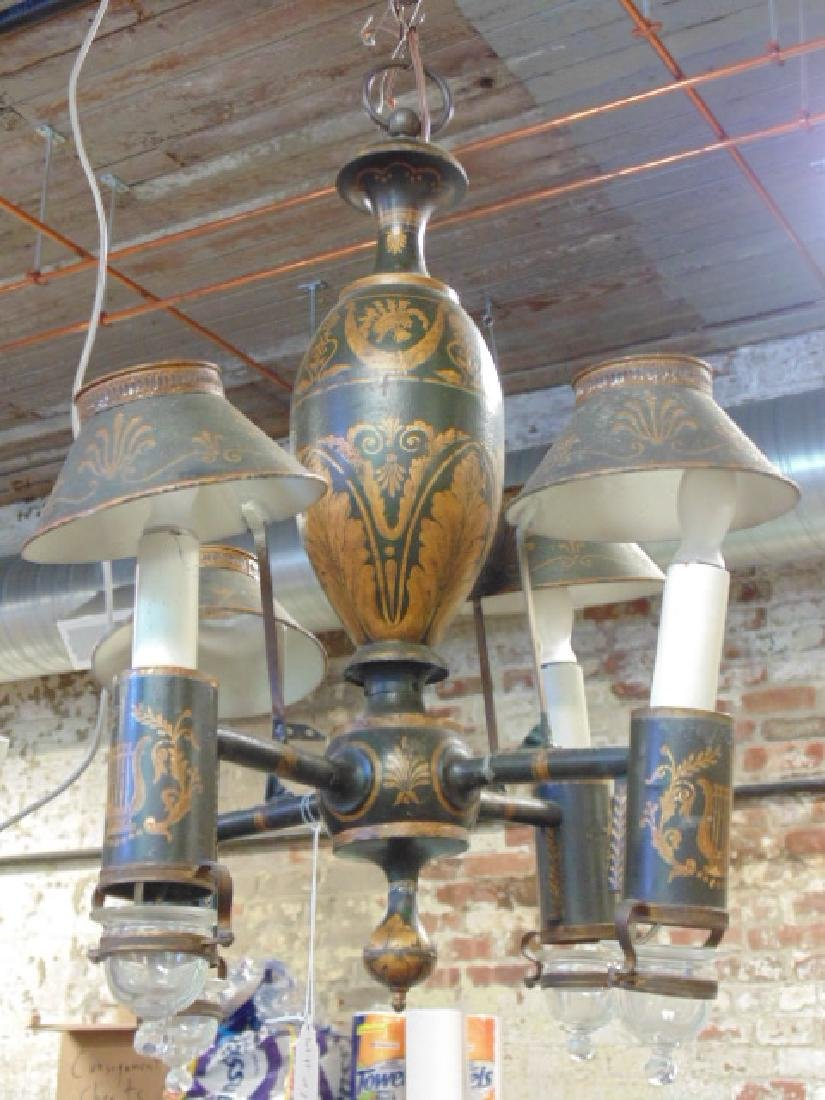 Painted Toleware Chandelier Hanging Fixture Tole Shades