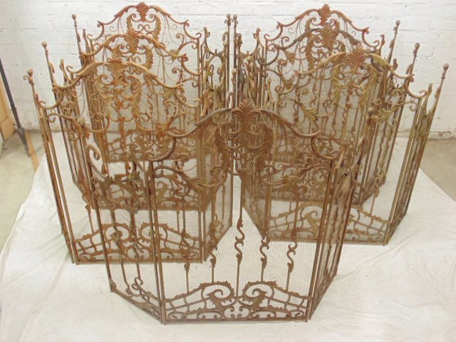 Lot 7 folding fire screens, wrought iron, mesh screen,