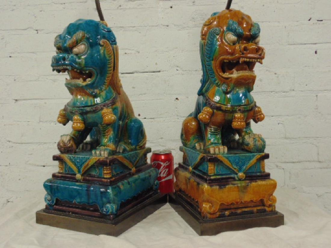 Pair large ceramic foo dog lamps