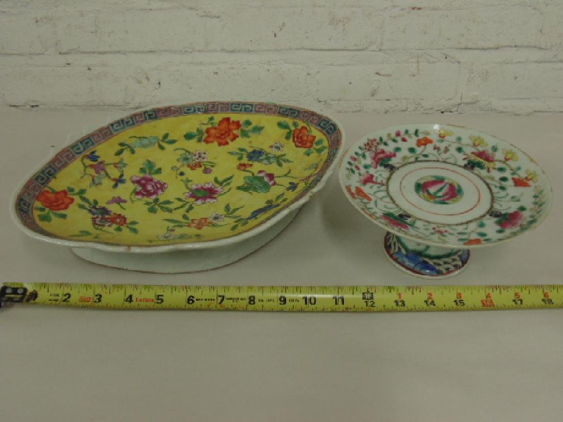 2 Chinese porcelain, ceramic plateau dishes