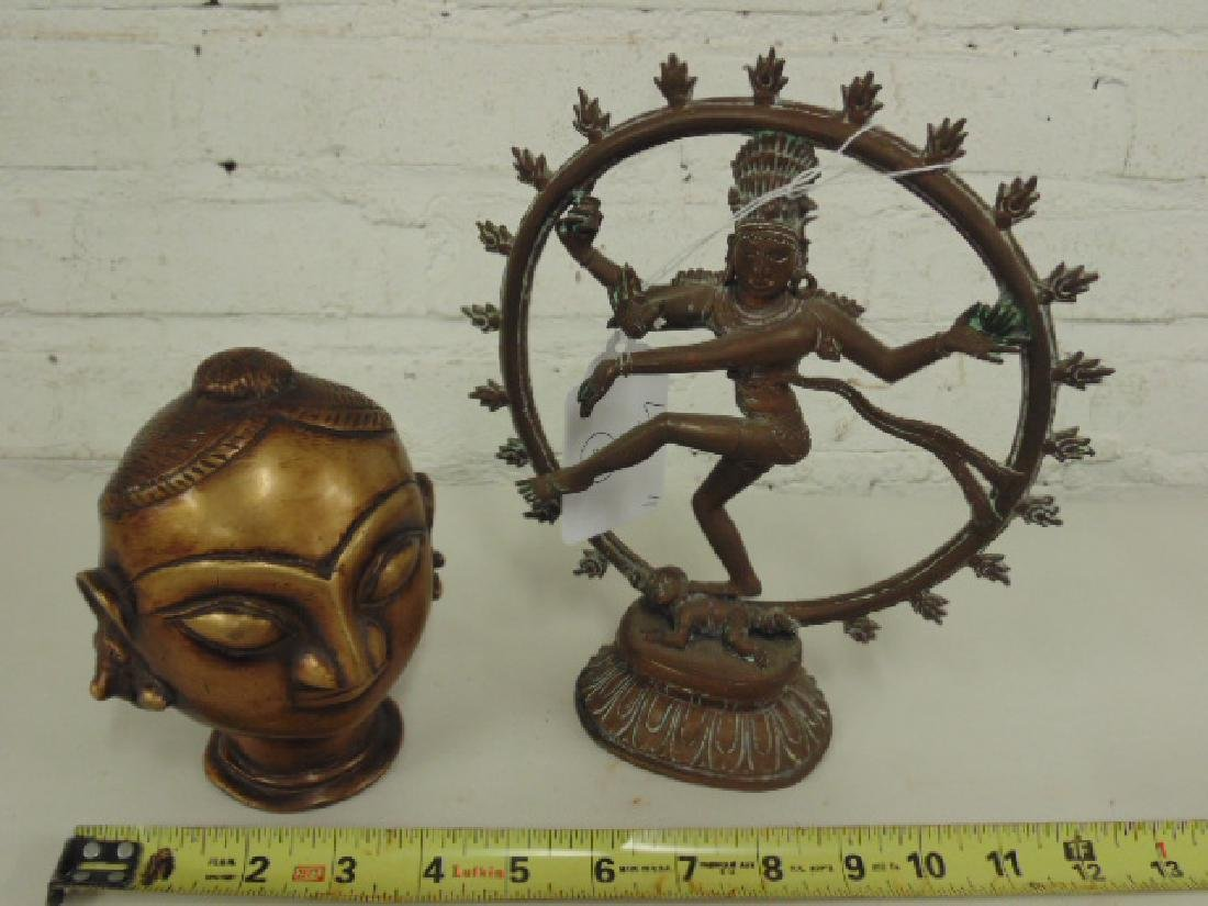 2 Asian bronze Buddha, deity figures