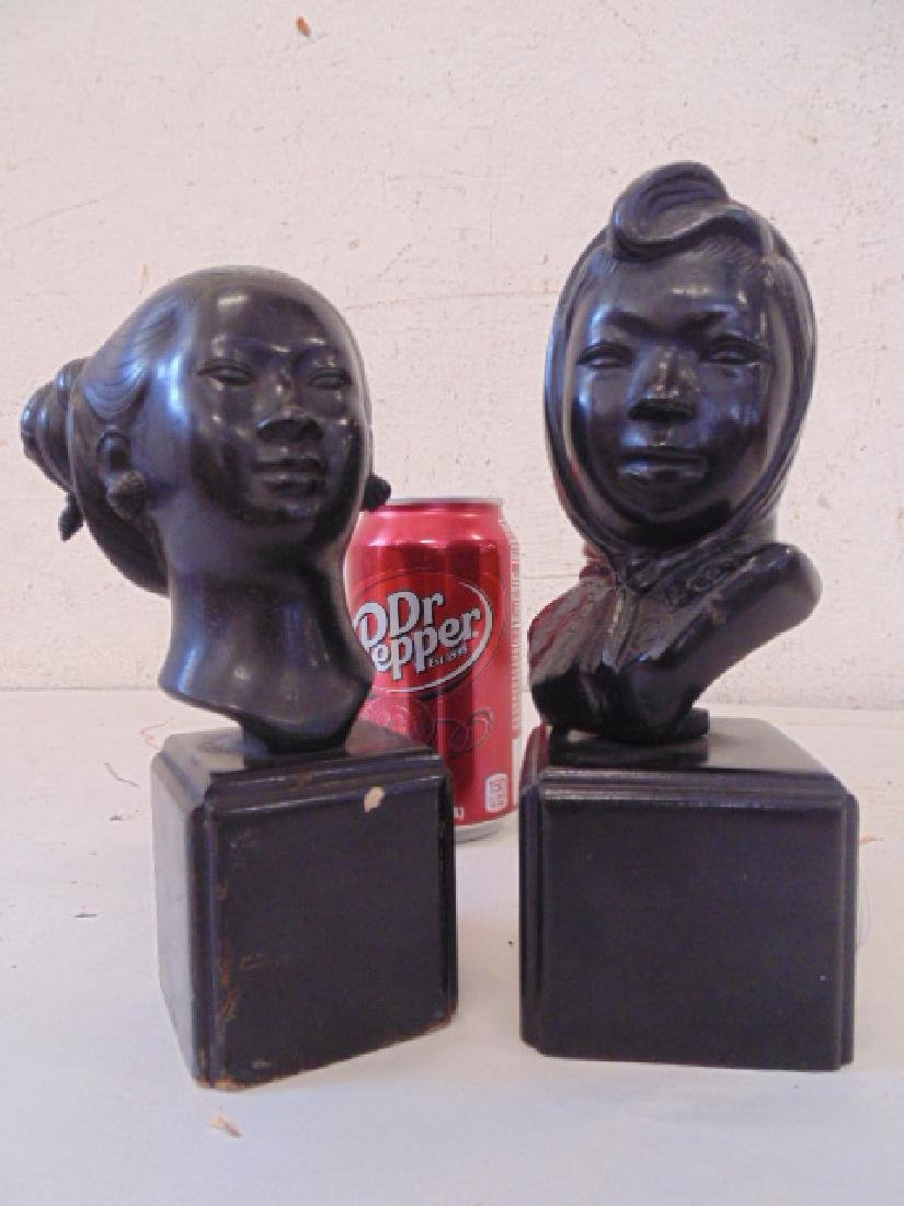 2 small Asian bronze busts on wood bases