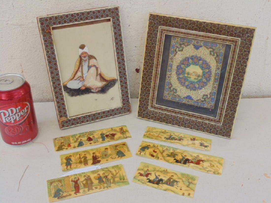 Persian lot miniature paintings, portrait, hunt scenes