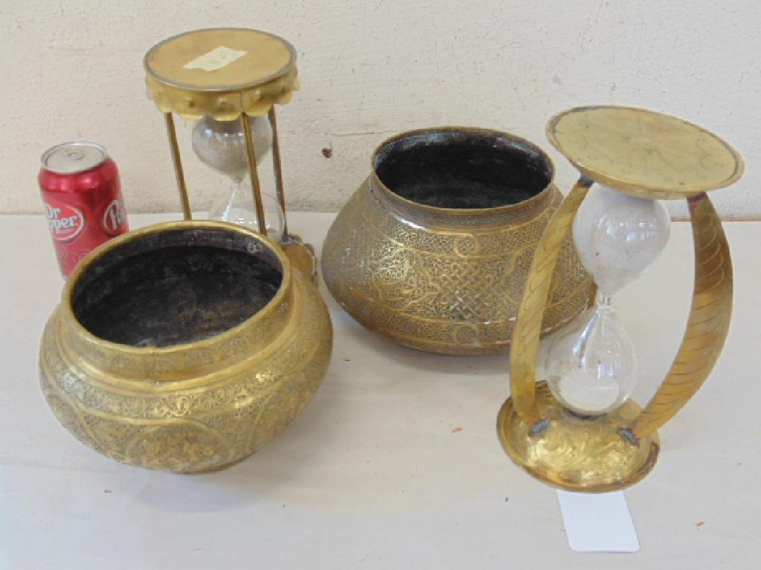 Brass lot, hourglasses & 2 Indian brass planters