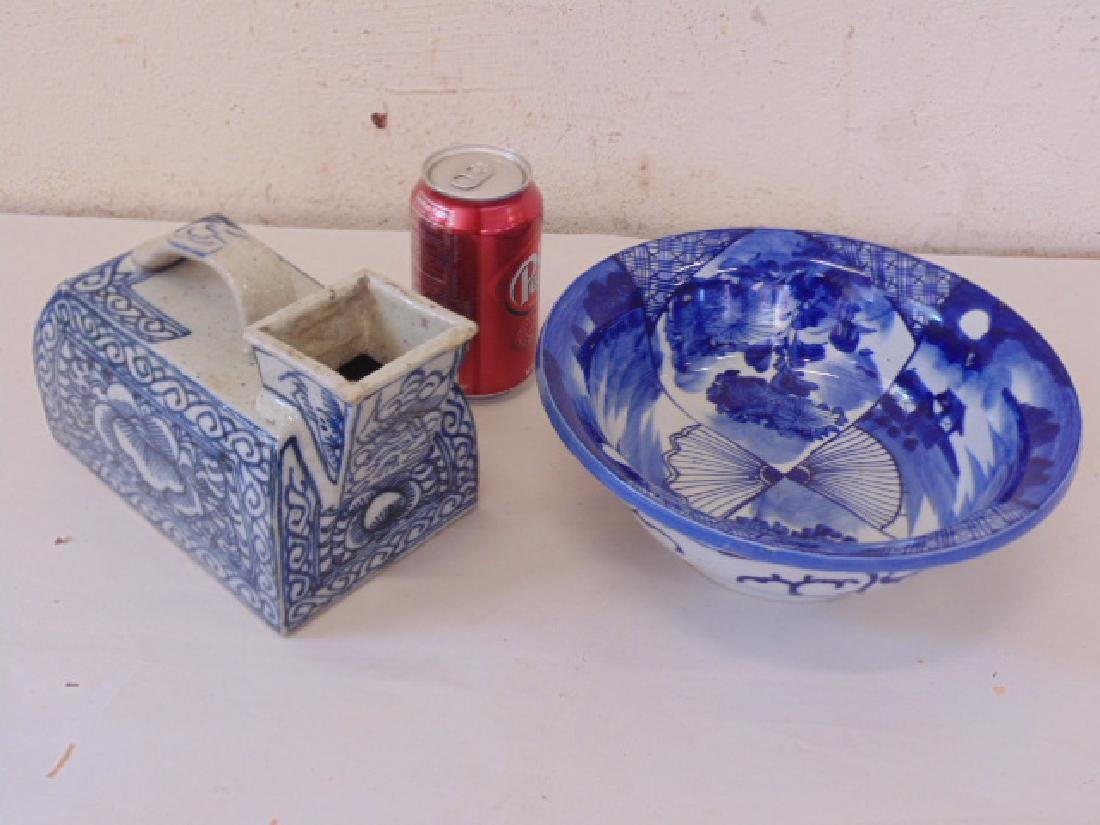 2 pieces blue & white Asian porcelain