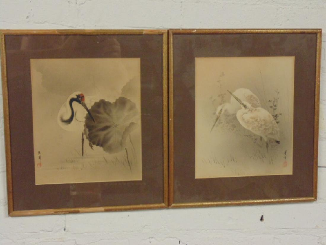 2 Asian watercolors, stork, birds, signed