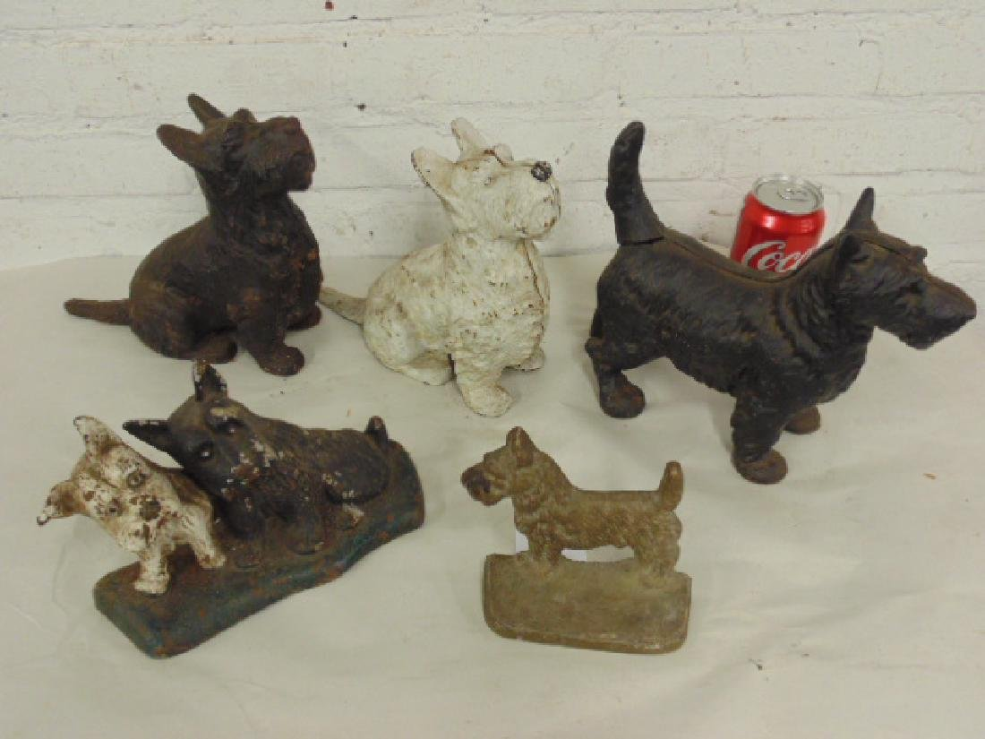 Lot iron, bronze dogs, doorstops, pair & singles