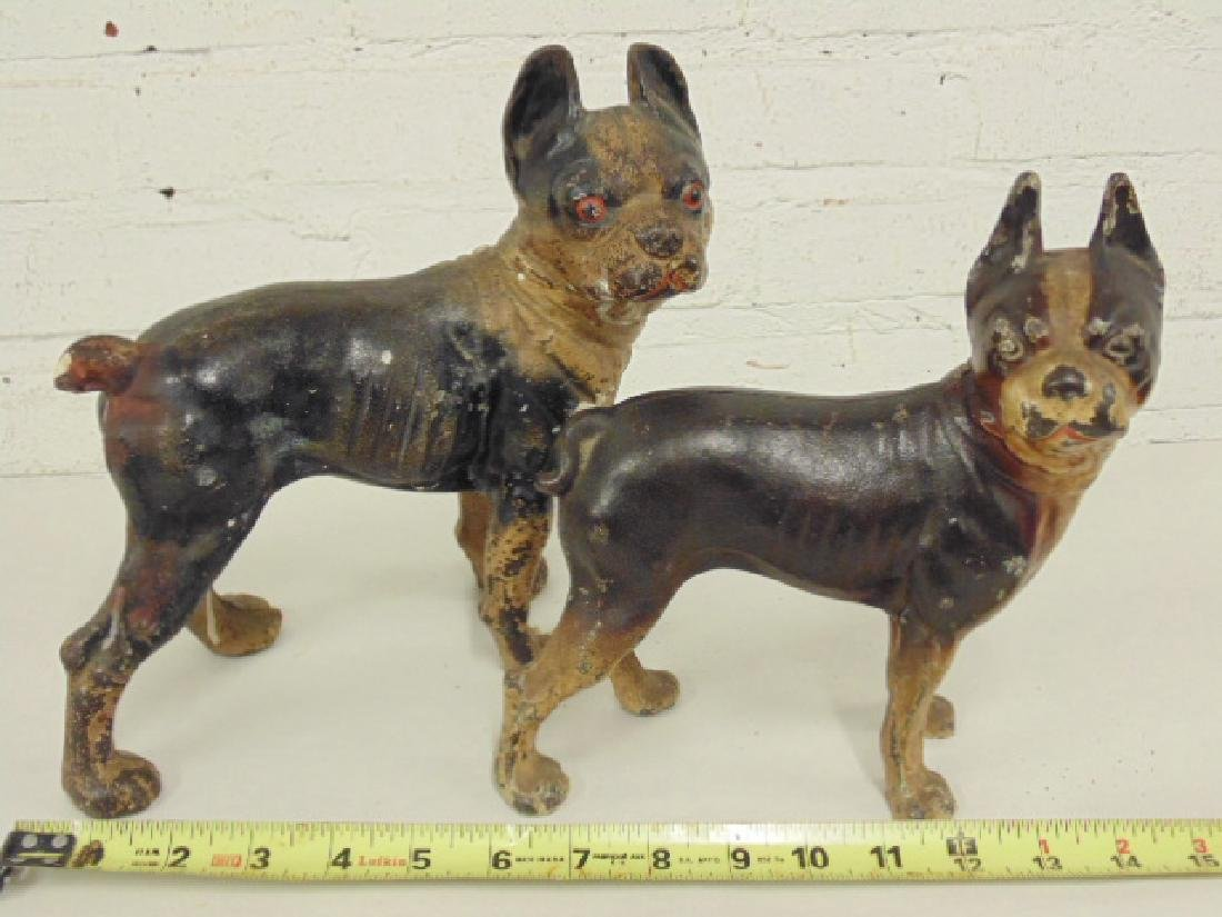 2 cast iron bulldog doorstops, old paint