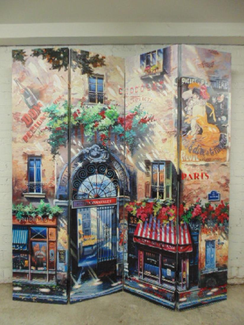 Ruben Bore 4 panel room screen, Parisian storefronts