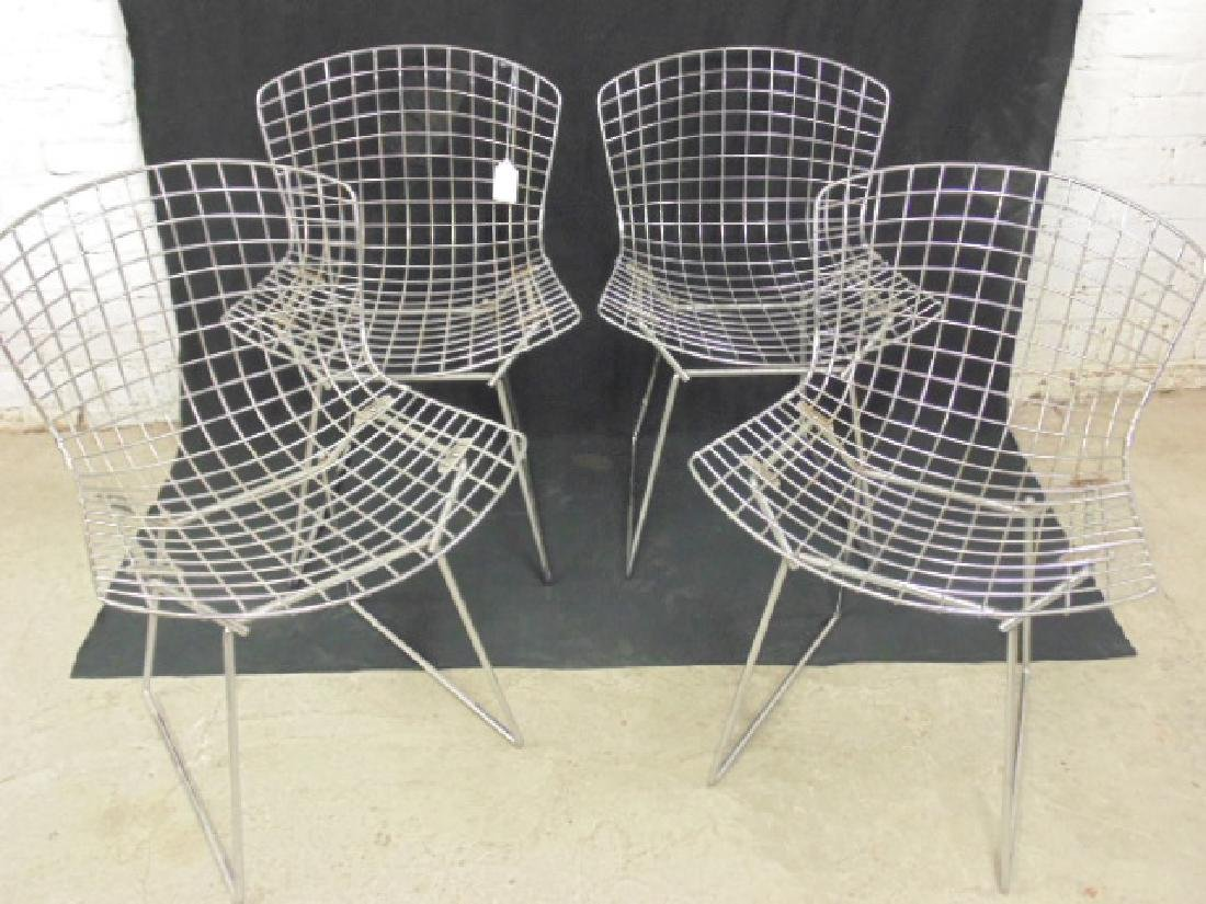 Set 4 Steel wire frame chairs by Bertoia
