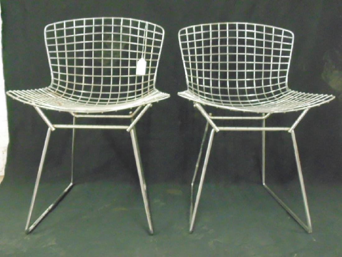 Set 4 Steel wire frame chairs by Bertoia - 3