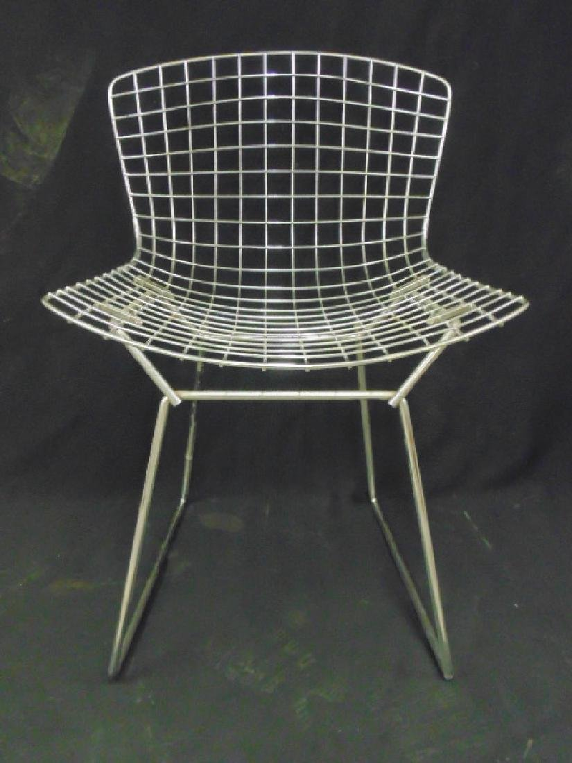 Set 4 Steel wire frame chairs by Bertoia - 4